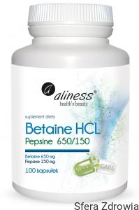ALINESS Betaine HCL, Pepsyna 650/150 mg 100 kaps.