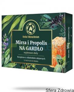 HERBAL PHARMACEUTICALS Mirra i propolis na gardło 12pastylek